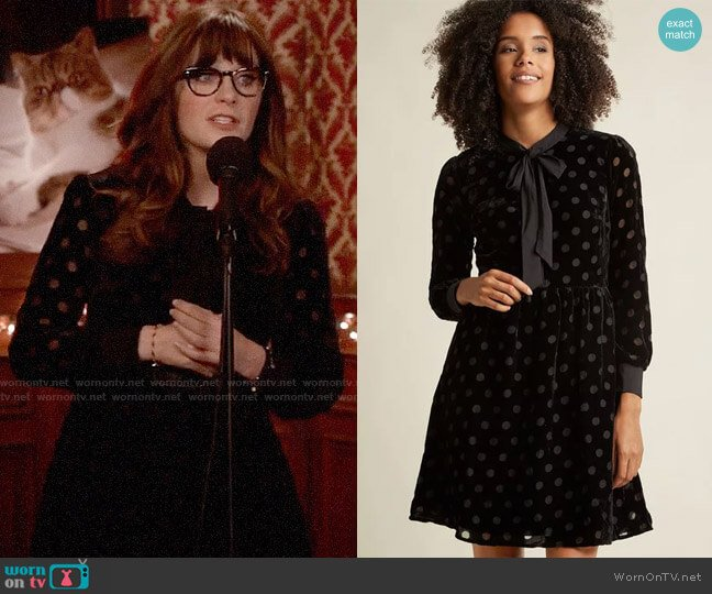 ModCloth Velvet Burnout Shirt Dress with Neck Tie worn by Jessica Day (Zooey Deschanel) on New Girl