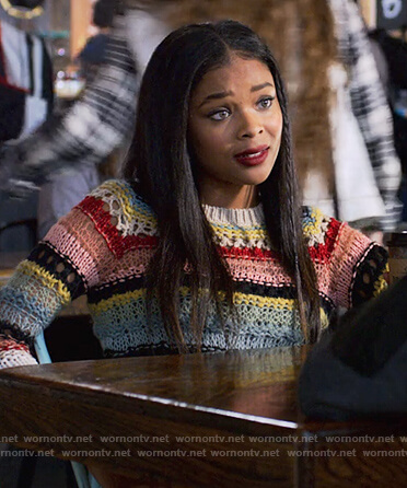 Sheri's multicolred striped knitted sweater on 13 Reasons Why