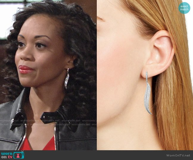 Nadri Willow Leaf Earrings worn by Mishael Morgan on The Young & the Restless