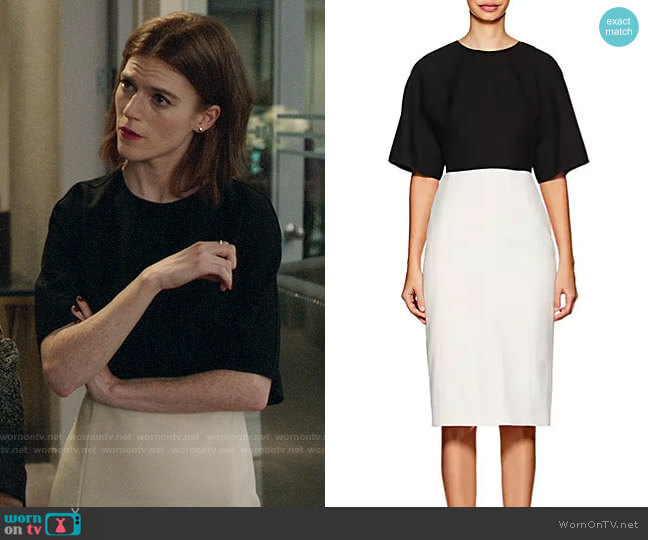 Narciso Rodriguez Colorblocked Wool Midi-Dress worn by Maia Rindell (Rose Leslie) on The Good Fight