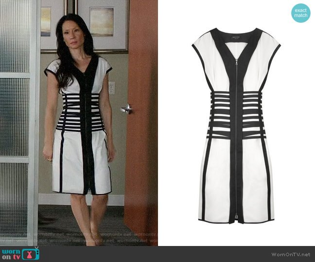Narciso Rodriguez Striped Cotton-blend Dress worn by Lucy Liu on Elementary