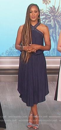 Eve's navy studded cross neck dress on The Talk