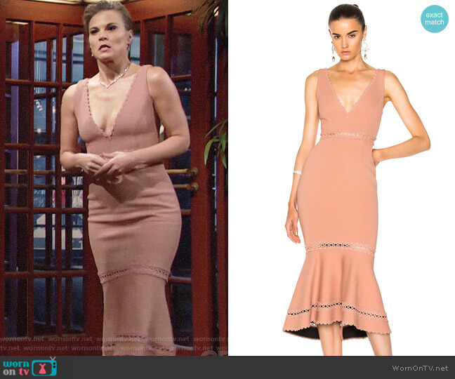 Nicholas Bandage Plunge Midi Dress worn by Phyllis Newman (Gina Tognoni) on The Young & the Restless