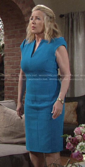 Nikki's turquoise blue v-neck dress on The Young and the Restless