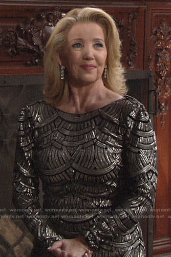 Nikki's beaded long sleeve dress on The Young and the Restless