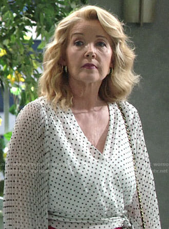 Nikki's polka dot wrap blouse on The Young and the Restless