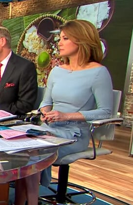 Norah's blue slit sleeve dress on CBS This Morning