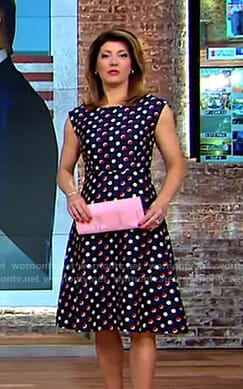 Norah's navy polka dot fit and flare dress on CBS This Morning