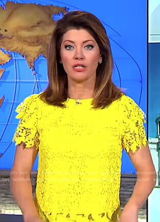 Norah's yellow floral lace top on CBS This Morning