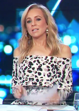 Carrie's off shoulder leopard print dress on The Project