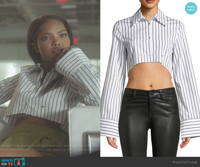 Button-Front Striped Cropped Shirt by Off-White worn by Ryan Destiny on Star