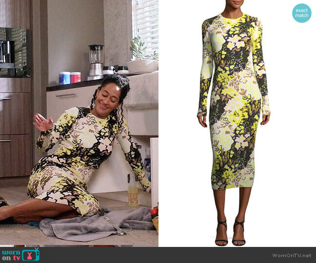 Opening Ceremony Floral-Print Long-Sleeve Rib-Knit Midi Dress worn by Rainbow Johnson (Tracee Ellis Ross) on Blackish