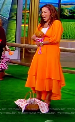 Sunny's orange tiered wrap dress on The View
