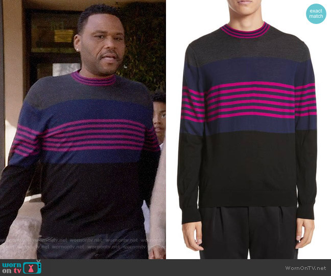 Paul Smith Stripe Merino Wool Crewneck Sweater worn by Anthony Anderson on Blackish