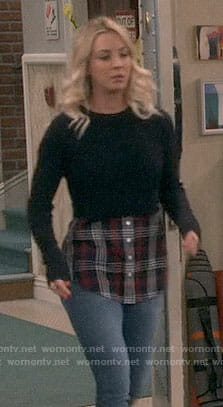 Penny's plaid layered sweater on The Big Bang Theory