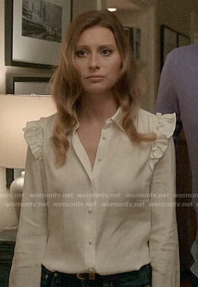 Peyton's white ruffle shoulder shirt on iZombie