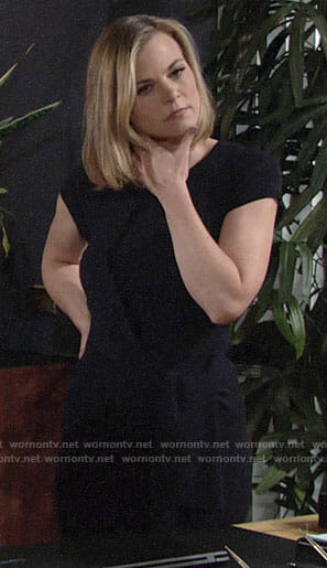 Phyllis's navy tie-waist dress on The Young and the Restless