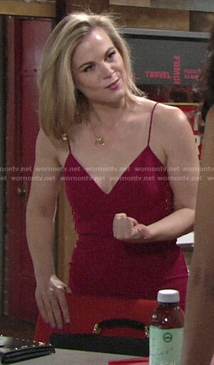 Phyllis's magenta dress with lace-up sides on The Young and the Restless