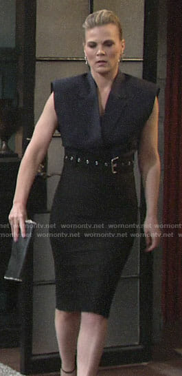 Phyllis's pinstriped crop top and high waisted pencil skirt on The Young and the Restless