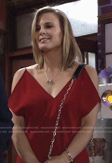 Phyllis's red cold shoulder top on The Young and the Restless