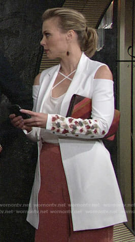 Phyllis's white cold-shoulder jacket on The Young and the Restless