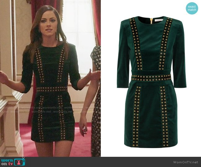 Pierre Balmain Embellished Velvet Mini Dress worn by Princess Eleanor (Alexandra Park) on The Royals