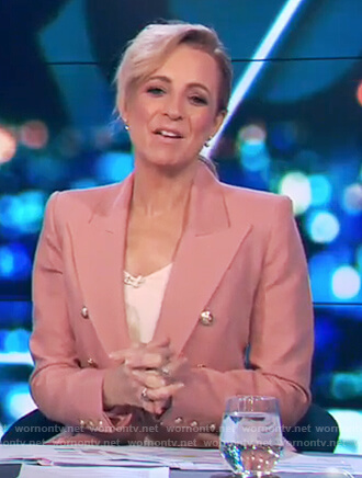 Carrie's pink gold button blazer on The Project