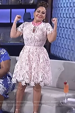 Adrienne's pink floral lace dress on The Real