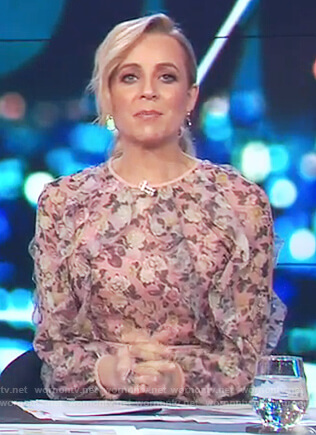 Carrie's pink floral print long sleeve dress on The Project