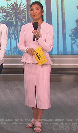 Julie's pink ribbed peplum sweater and midi skirt on The Talk