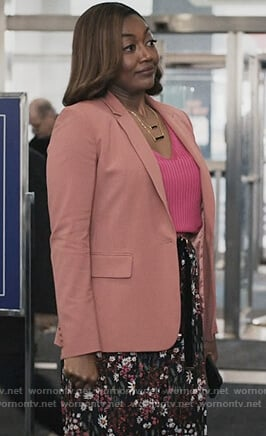 Daisy's coral blazer on Madam Secretary