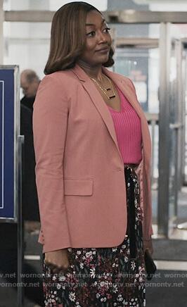 Daisy's coral blazer on Madam Secretary