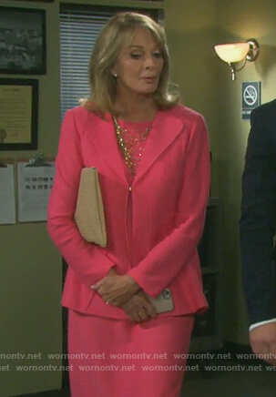 Marlena's pink knitted blazer and matching sheath dress on Days of our Lives