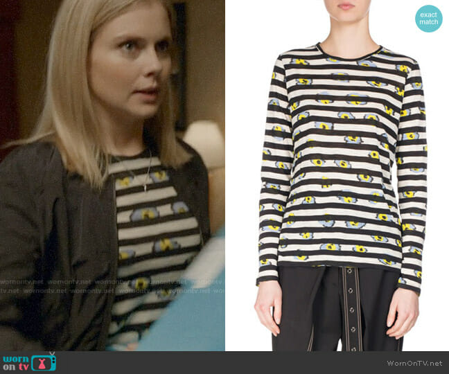 Proenza Schouler Striped Ikat Pansy Long-Sleeve T-Shirt worn by Rose McIver on iZombie