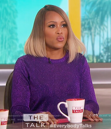 Eve's purple metallic sweater on The Talk