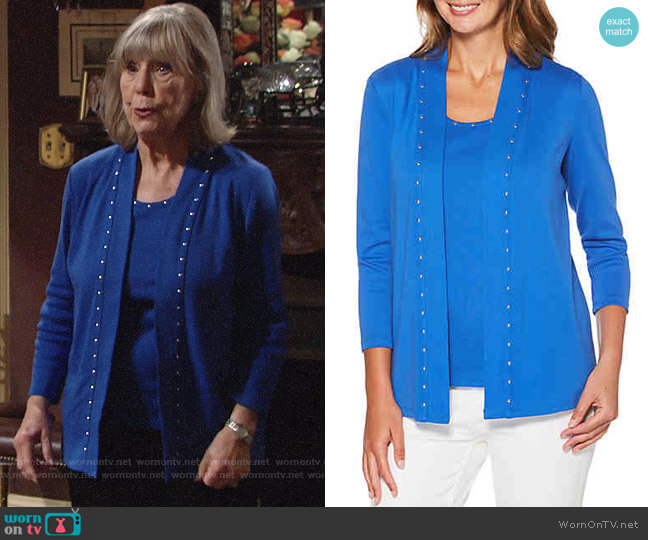 Rafaella Heat Tank and Studded Cardigan worn by Marla Adams on The Young & the Restless