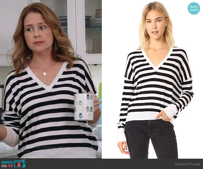 Bevan V Neck Sweater by Rag & Bone worn by Lena (Jenna Fischer) on Splitting Up Together
