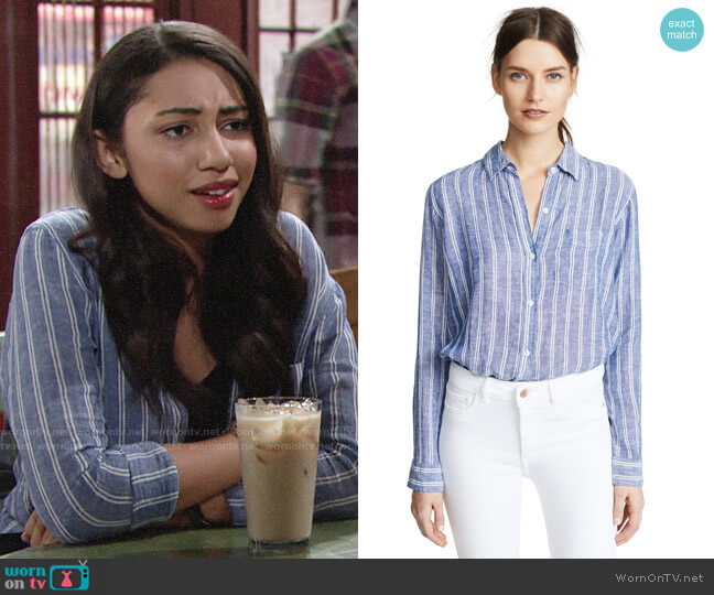 Rails Charli Shirt in Romana Stripe worn by Shauna (Camryn Hamm) on The Young & the Restless