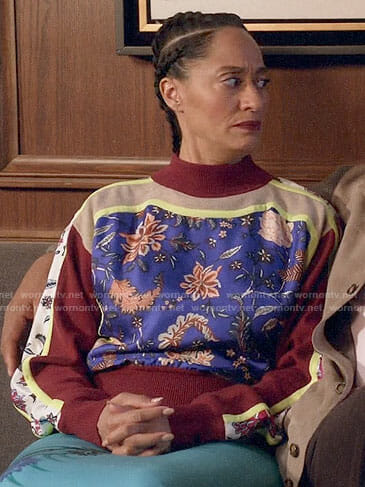 Rainbow's floral panel sweater on Black-ish