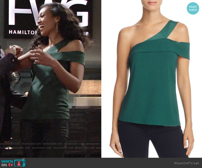 Ramy Brook Luca Asymmetrical Cutout Top worn by Hilary Curtis (Mishael Morgan) on The Young & the Restless