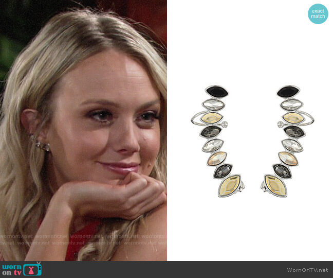 Rebecca Minkoff Stacked Sparkler Ear Climber Earrings worn by Melissa Ordway on The Young & the Restless