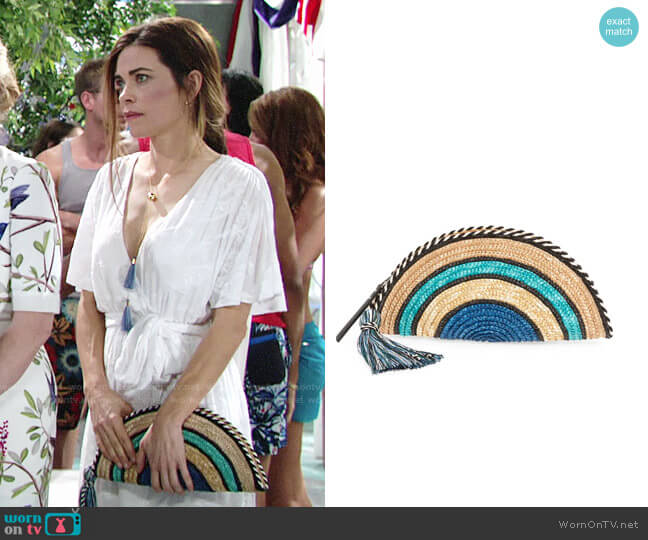Rebecca Minkoff Woven Straw Taco Clutch worn by Amelia Heinle on The Young & the Restless