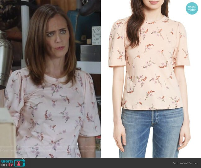 Natalie Fleur Cotton Jersey Top by Rebecca Taylor worn by Diane Farr on Splitting Up Together