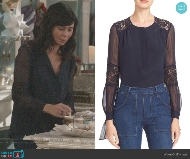 'Sarah' Silk Blouse by Rebecca Taylor worn by Cassandra Nightingale (Catherine Bell) on Good Witch
