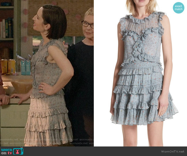 Rebecca Taylor Floral Vine Ruffle Silk Dress worn by Jennifer Short (Zoe Lister-Jones) on Life in Pieces