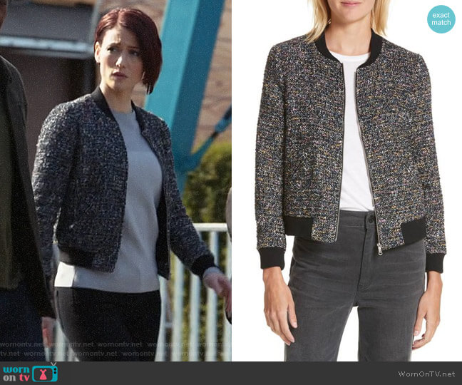 Rebecca Taylor Multi-Tweed Bomber Jacket worn by Chyler Leigh on Supergirl