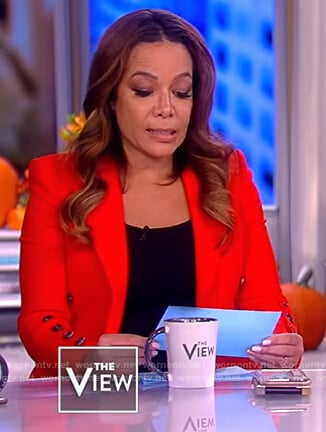Sunny's red button cuff blazer on The View