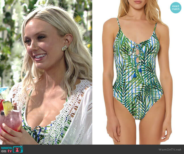 Red Carter Lace-up Swimsuit worn by Abby Newman (Melissa Ordway) on The Young & the Restless