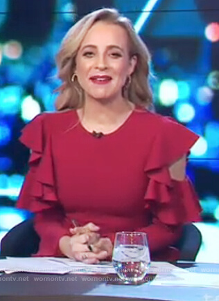 Carrie's red ruffle cold shoulder dress on The Project