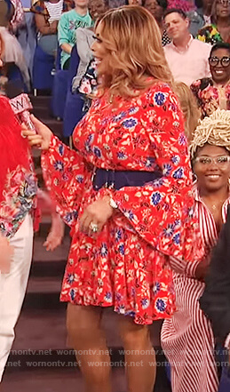 Wendy's red floral print bell sleeve dress on The Wendy Williams Show